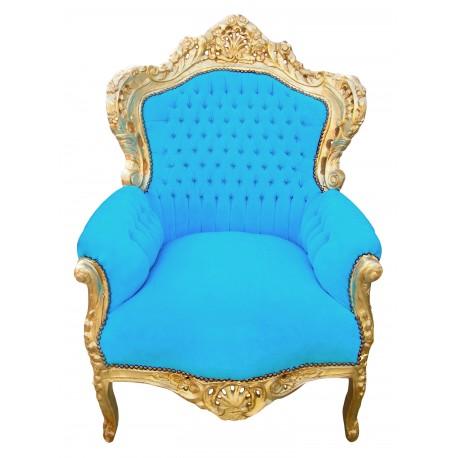 grand fauteuil baroque velours bleu turquoise et bois dor. Black Bedroom Furniture Sets. Home Design Ideas