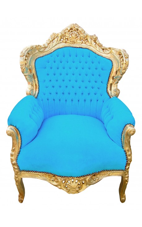 grand fauteuil baroque velours bleu turquoise et bois dor. Black Bedroom Furniture Sets. Home Design Ideas