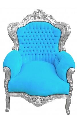 Grand fauteuil de style baroque velours turquoise et bois argent