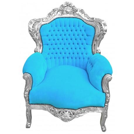 grand fauteuil de style baroque en velours turquoise et bois argent. Black Bedroom Furniture Sets. Home Design Ideas