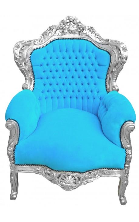 Большое кресло стиль барокко бирюзовый бархат и серебро дерево