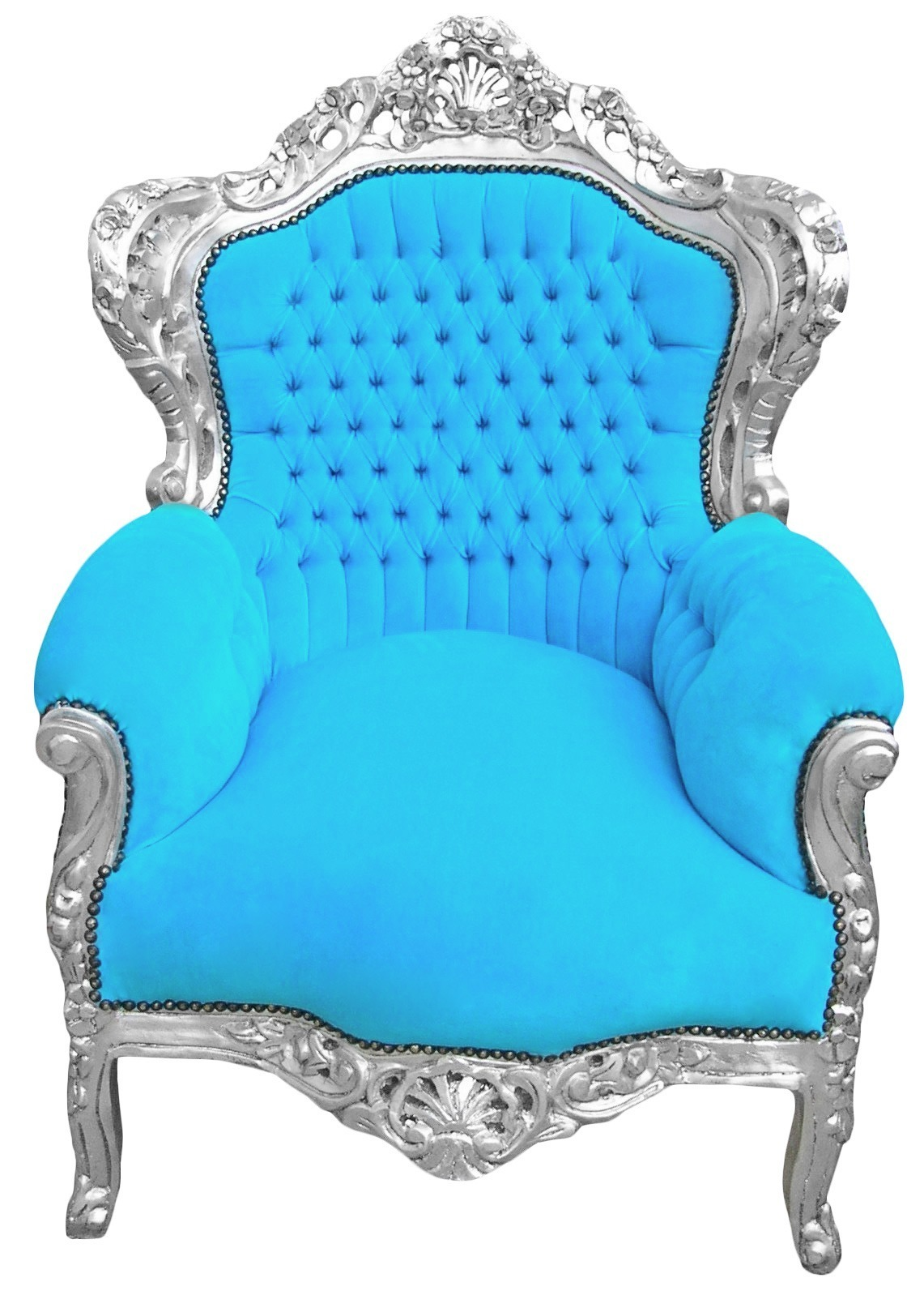 Big Baroque Style Armchair Turquoise Velvet And Silver Wood