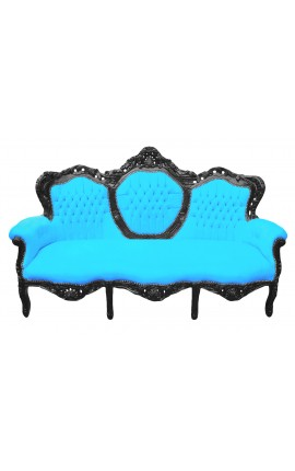 Baroque sofa fabrics turquoise velvet and black lacquered wood