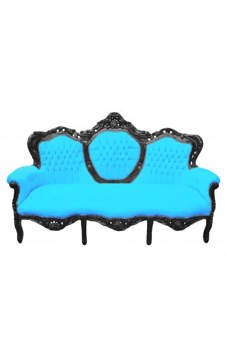Canapé baroque tissu velours turquoise et bois laqué noir