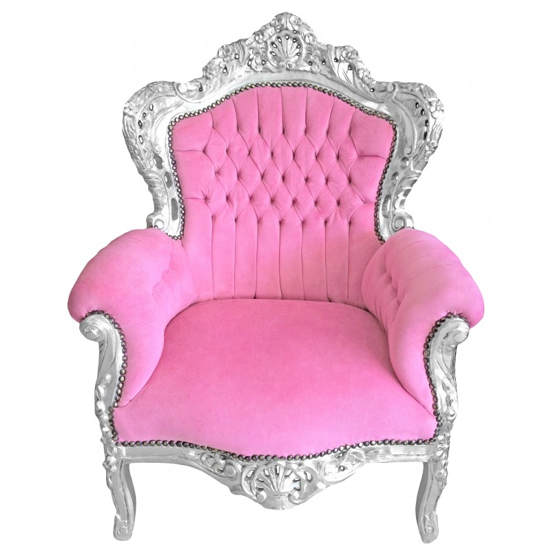 Big Baroque Style Armchair Pink Velvet And Wood Silver