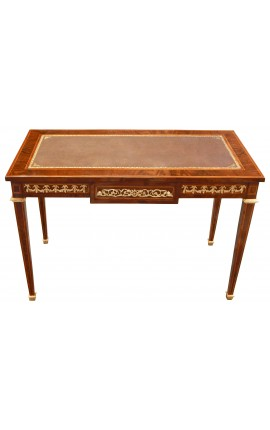 Louis XVI style flat writing desk with marketry and bronzes