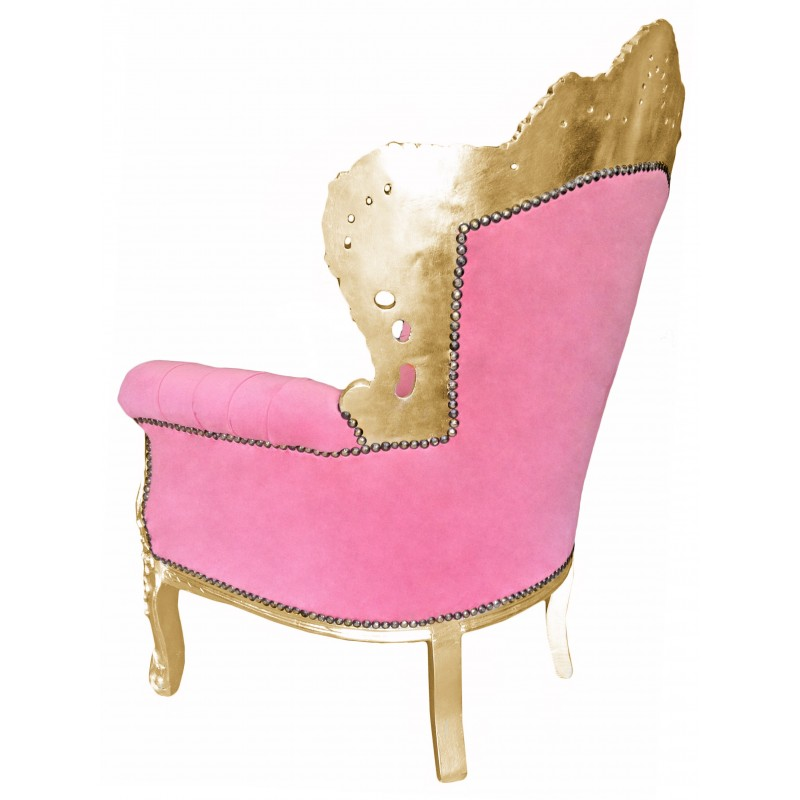 Big baroque style armchair pink velvet and gold wood