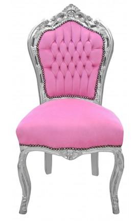 Chaise de style Baroque Rococo tissu velours rose et bois argenté