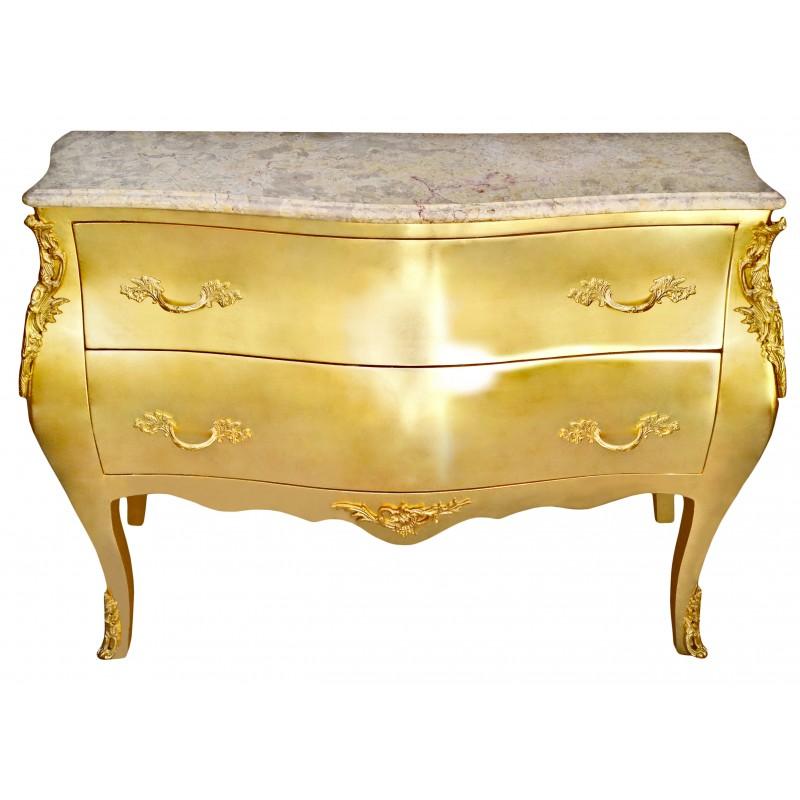 commode baroque de style louis xv dor e avec 2 tiroirs et plateau en marbre beige. Black Bedroom Furniture Sets. Home Design Ideas