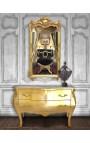 Commode baroque de style Louis XV dorée plateau marbre beige