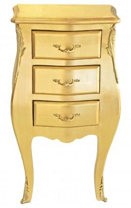 Table de nuit (chevet) commode baroque étroite en bois doré avec 3 tiroirs
