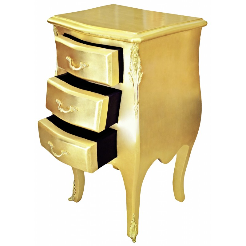 thin bedside night stand baroque commode wooden gold