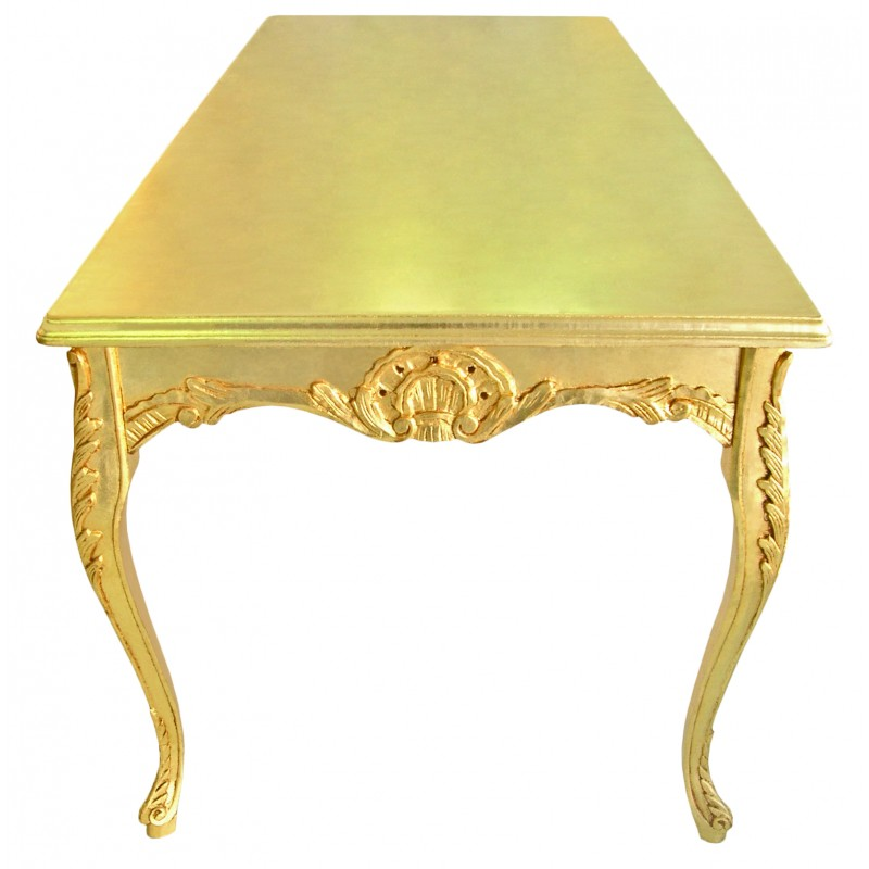 Dining Table Wooden Baroque Gold Leaf