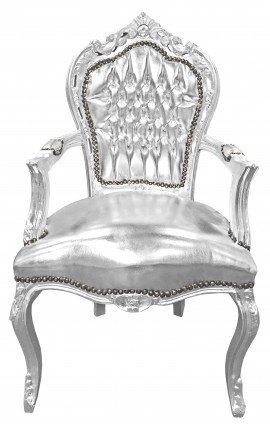 Baroque Rococo Armchair style false skin leather silver and silvered wood