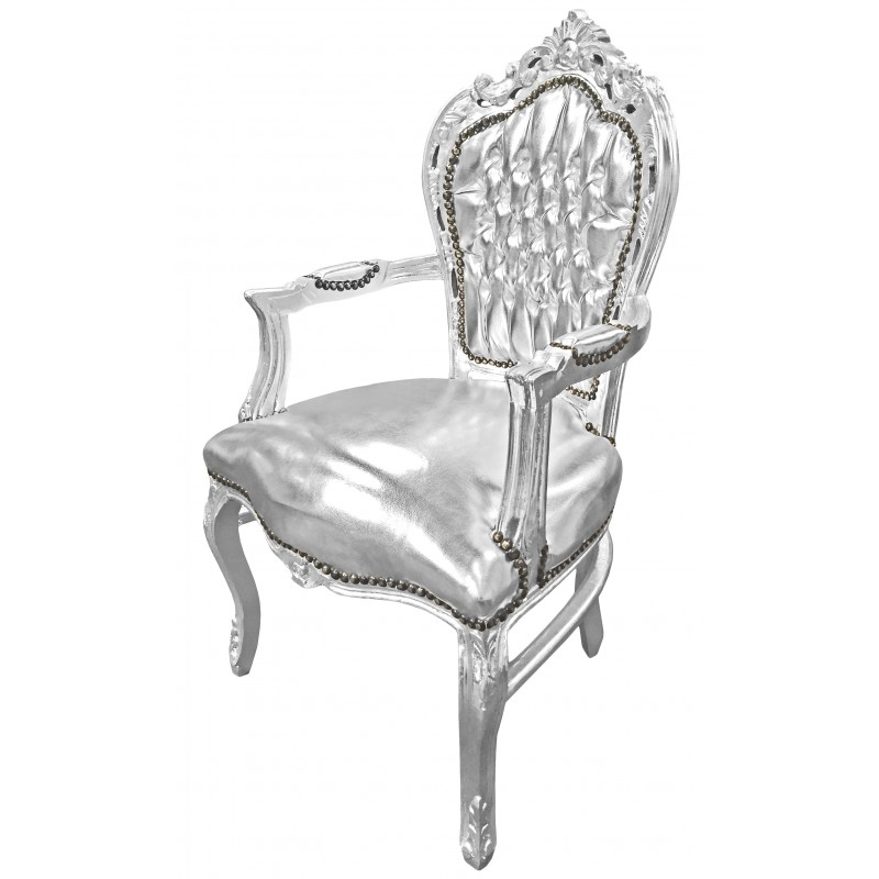 fauteuil de style baroque rococo tissu simili cuir argent. Black Bedroom Furniture Sets. Home Design Ideas