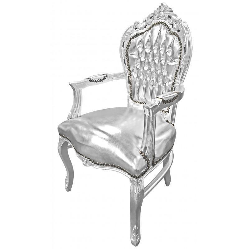 fauteuil de style baroque rococo tissu simili cuir argent et bois argent. Black Bedroom Furniture Sets. Home Design Ideas