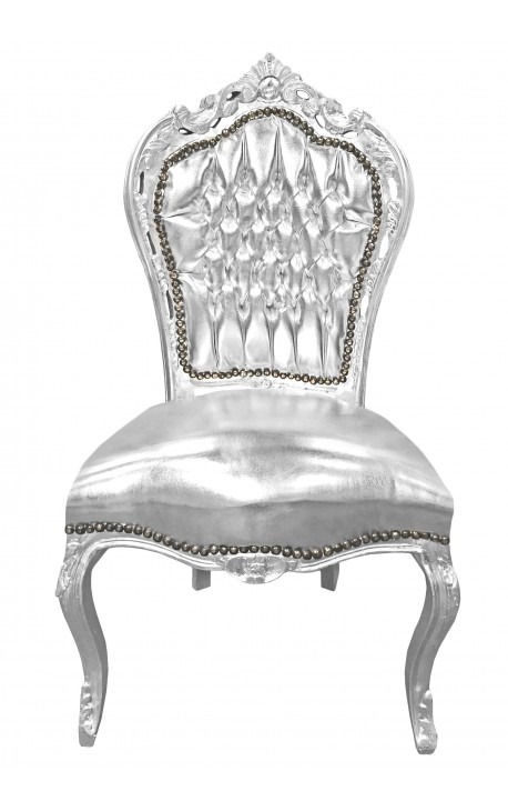 Baroque rococo style chair false skin silver leather and silver wood