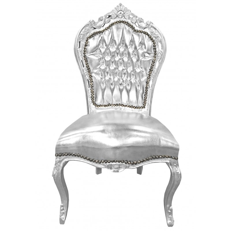 chaise de style baroque rococo simili cuir argent et bois argent. Black Bedroom Furniture Sets. Home Design Ideas