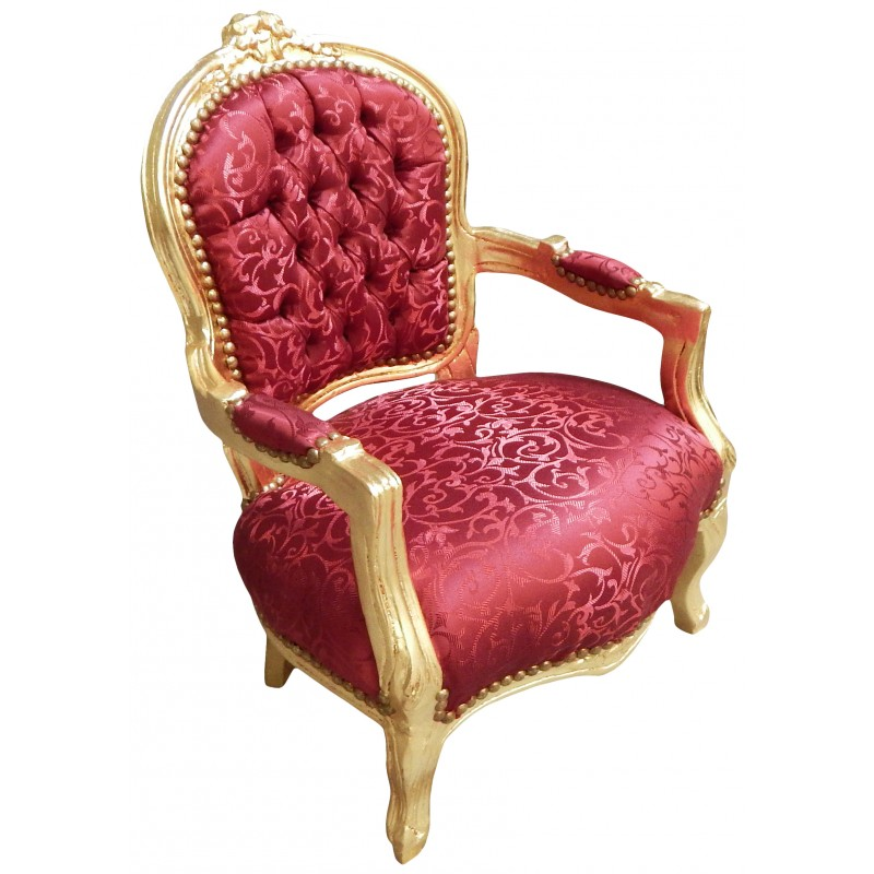 fauteuil baroque enfant satin rouge et bois dor. Black Bedroom Furniture Sets. Home Design Ideas