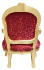 Baroque armchair for child red satine and gold wood