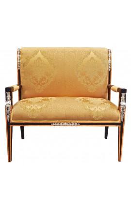 Canapé de style Empire tissu satiné doré et bois laqué noir avec bronzes