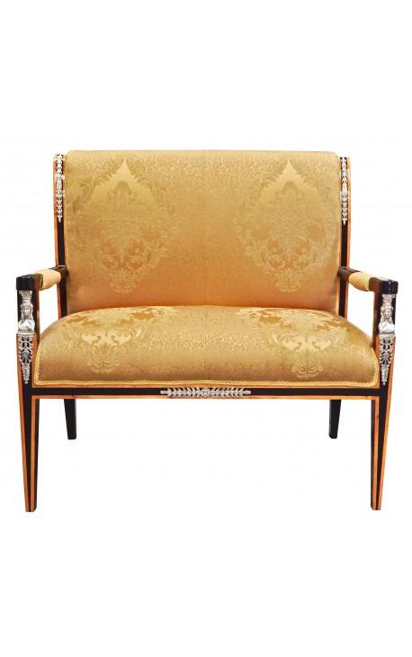 canap de style empire tissu satin dor et bois noir avec. Black Bedroom Furniture Sets. Home Design Ideas