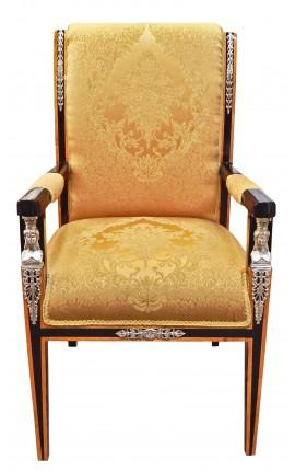 Grand fauteuil de style Empire tissu satiné doré et bois laqué noir avec bronzes