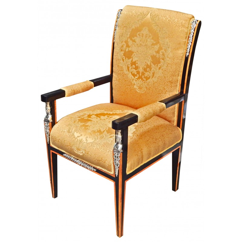 grand empire style armchair golden satin fabric and black