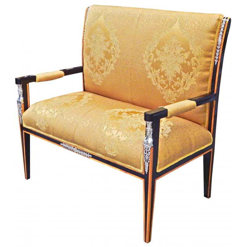 Canap de style empire tissu satin dor et bois noir avec - Mobilier style empire ...