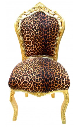 Baroque rococo style chair leopard and gold wood