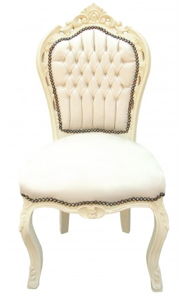 Baroque rococo style chair beige leatherette and beige wood