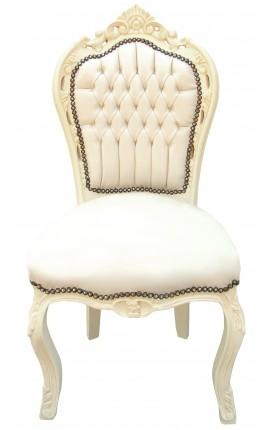 Chaise de style Baroque Rococo tissu simili cuir beige et bois laqué beige
