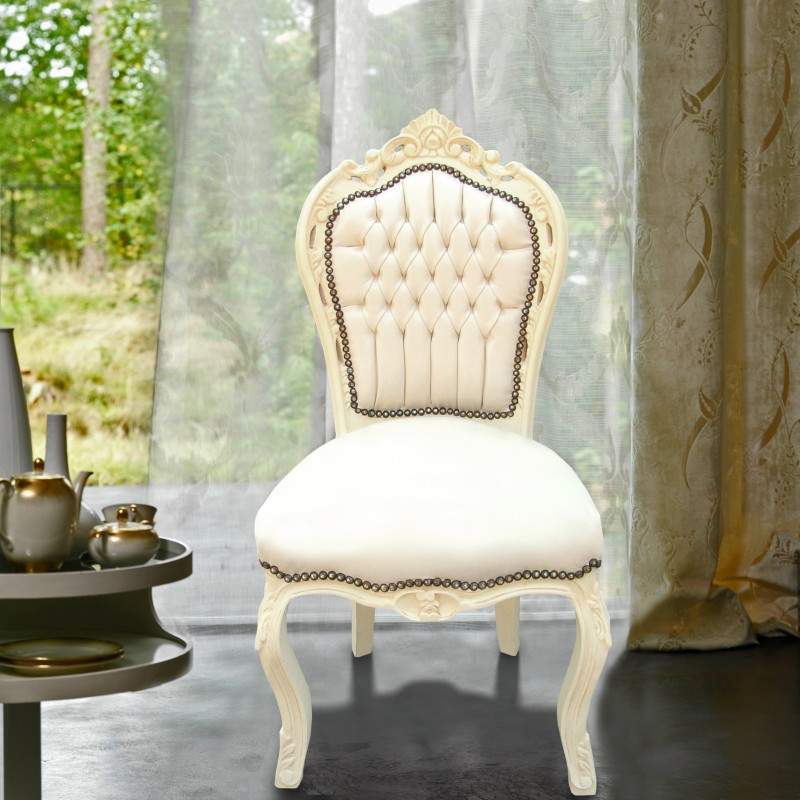 chaise de style baroque rococo tissu simili cuir beige et bois laqu beige. Black Bedroom Furniture Sets. Home Design Ideas