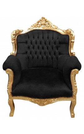 "Armchair ""princely"" Baroque style black velvet and gold wood"