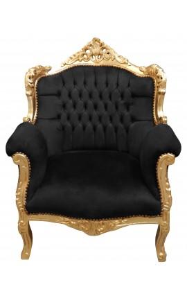 """Fauteuil """"princier"""" de style Baroque velours noir et bois doré"""