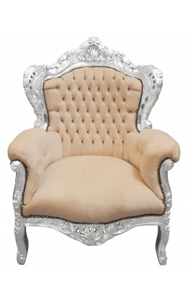 Big baroque style armchair beige velvet and silver wood