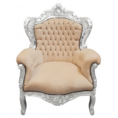 grand fauteuil de style baroque velours beige et bois argent. Black Bedroom Furniture Sets. Home Design Ideas