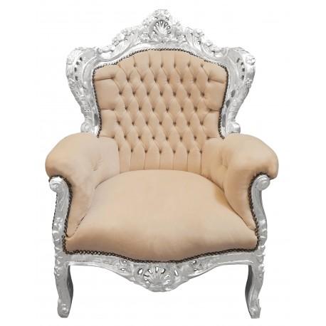 grand fauteuil de style baroque velours beige et bois argent. Black Bedroom Furniture Sets. Home Design Ideas