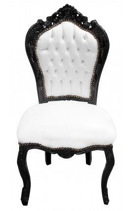 Baroque rococo style chair fabric white leatherette and black wood