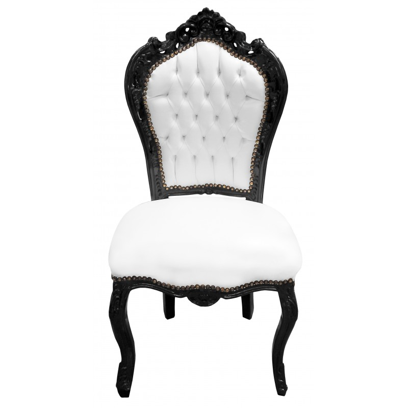 Baroque rococo style chair fabric faux white leather and - Chaise baroque avec accoudoir ...