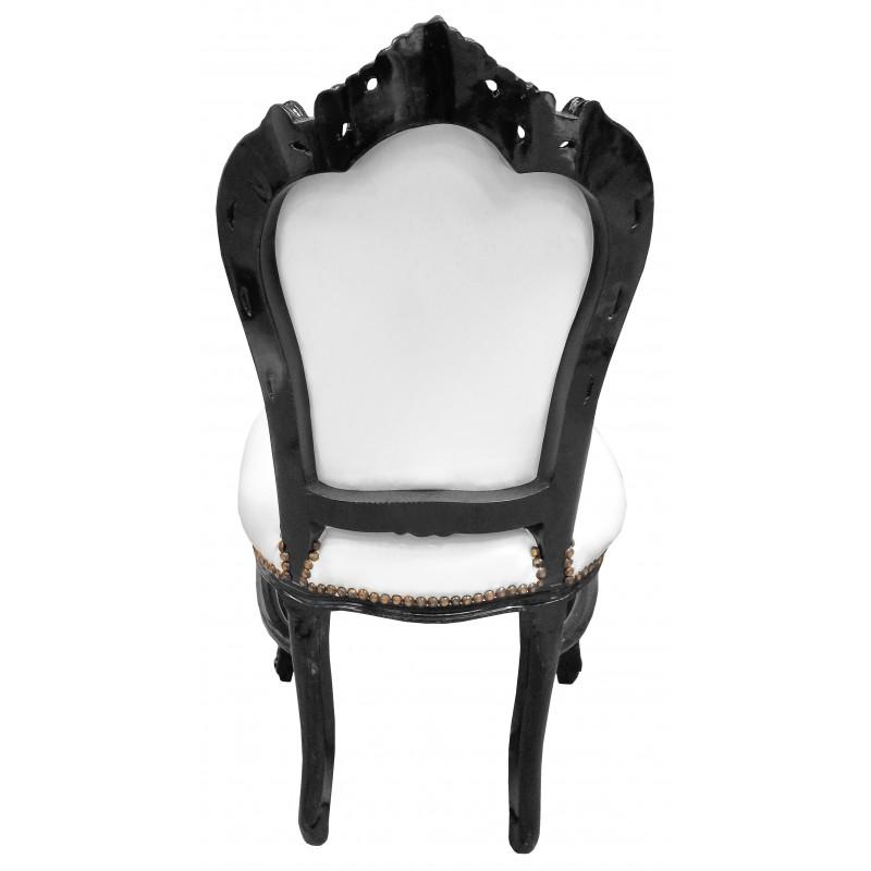 Chaise de style baroque rococo tissu simili cuir blanc et bois laqu noir - Chaise bois et simili cuir ...