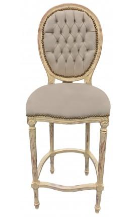 Chaise de bar de style Louis XVI à pompon, tissu velours beige et bois beige