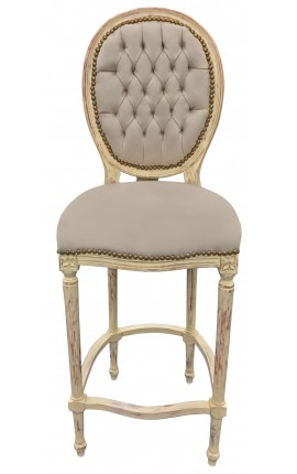 Bar chair Louis XVI style with tassel beige velvet fabric and beige wood