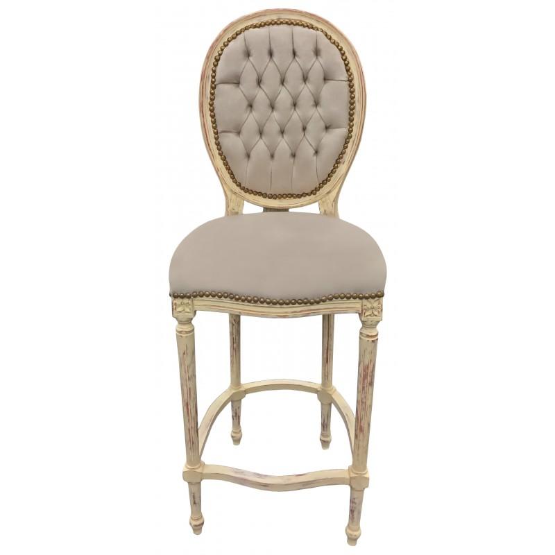 chaise de bar de style louis xvi pompon avec tissu velours beige et bois beige. Black Bedroom Furniture Sets. Home Design Ideas