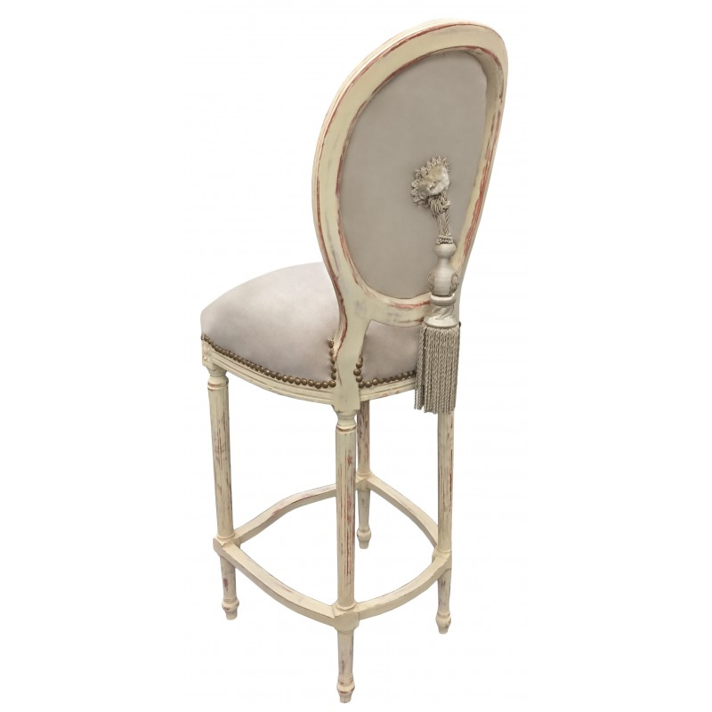 chaise de bar de style louis xvi pompon avec tissu velours beige et bois beige. Black Bedroom Furniture Sets. Home Design Ideas