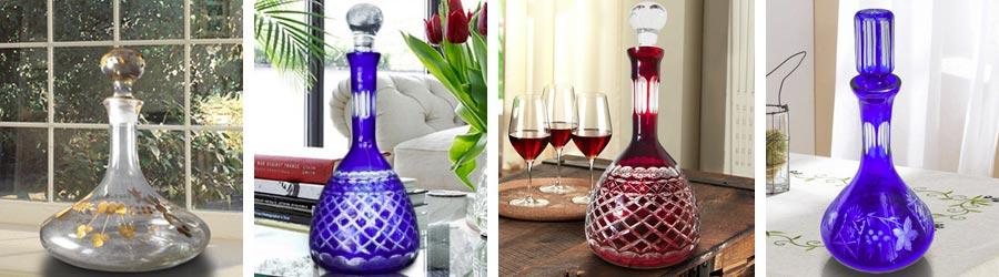 Glass decanter blow and hand carved