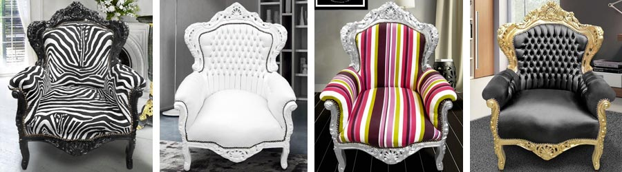 Baroque royal style armchairs