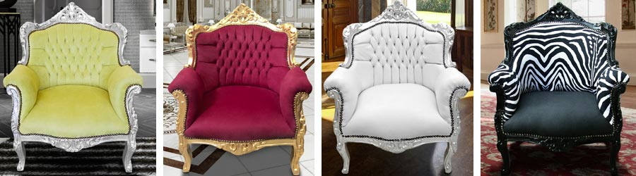 Baroque princely style armchairs