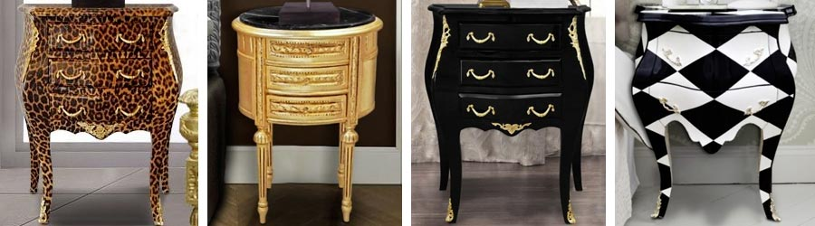 tables de nuit chevets baroques royal art palace international. Black Bedroom Furniture Sets. Home Design Ideas