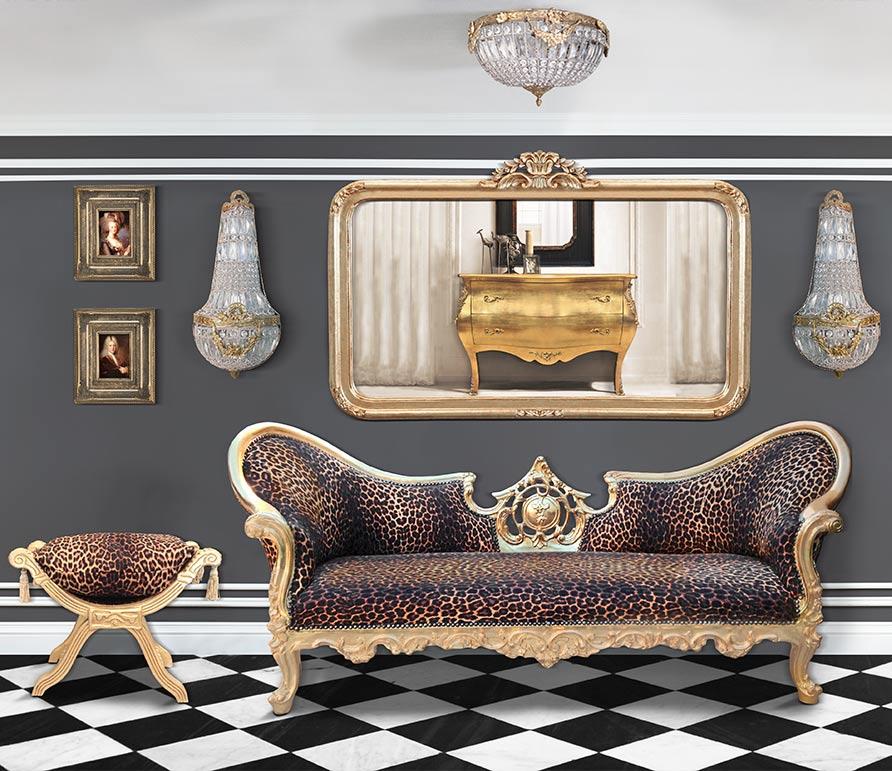 Canapé baroque napoléon iii et banquette dagobert tissu léopard et bois doré royal art palace